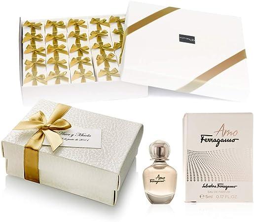 Pack 20 perfumes miniaturas originales de mujer como detalles para bodas Ferragamo Signorina Eau de parfum 5 ml. para regalar personalizados: Amazon.es: Hogar