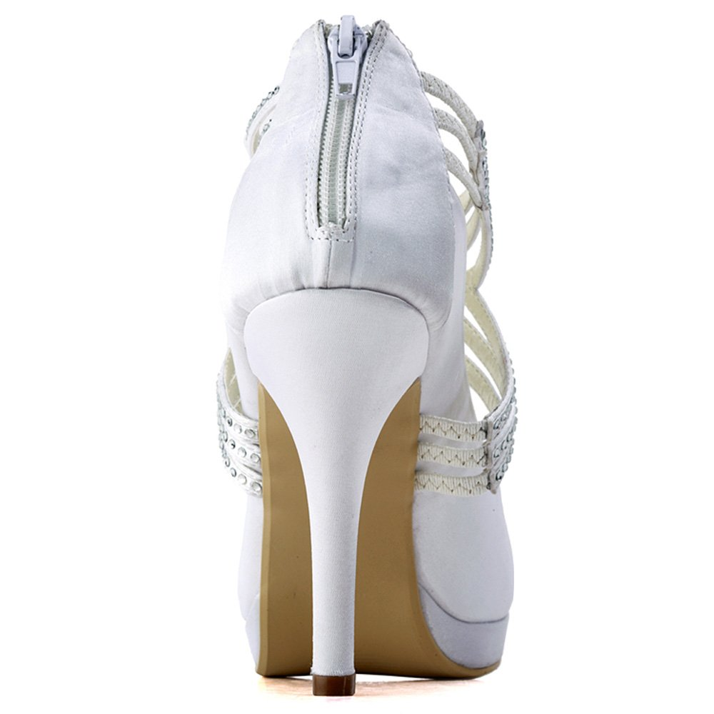ElegantPark EP11085-PF Femme bout Ronde Plate-Forme De Haut Talon Zip Bretelles En Satin Chaussures De Mariage