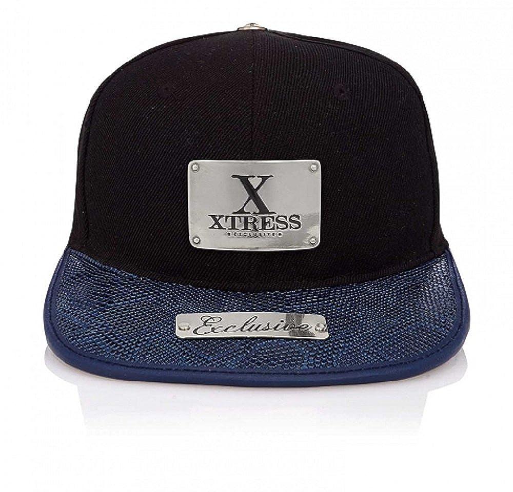Xtress Exclusive Gorra negra de visera plana azul. Unisex: Amazon.es: Ropa y accesorios