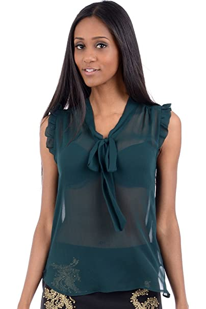 Para mujer blusa de traje de neopreno para mujer de chifón de sin mangas con volantes
