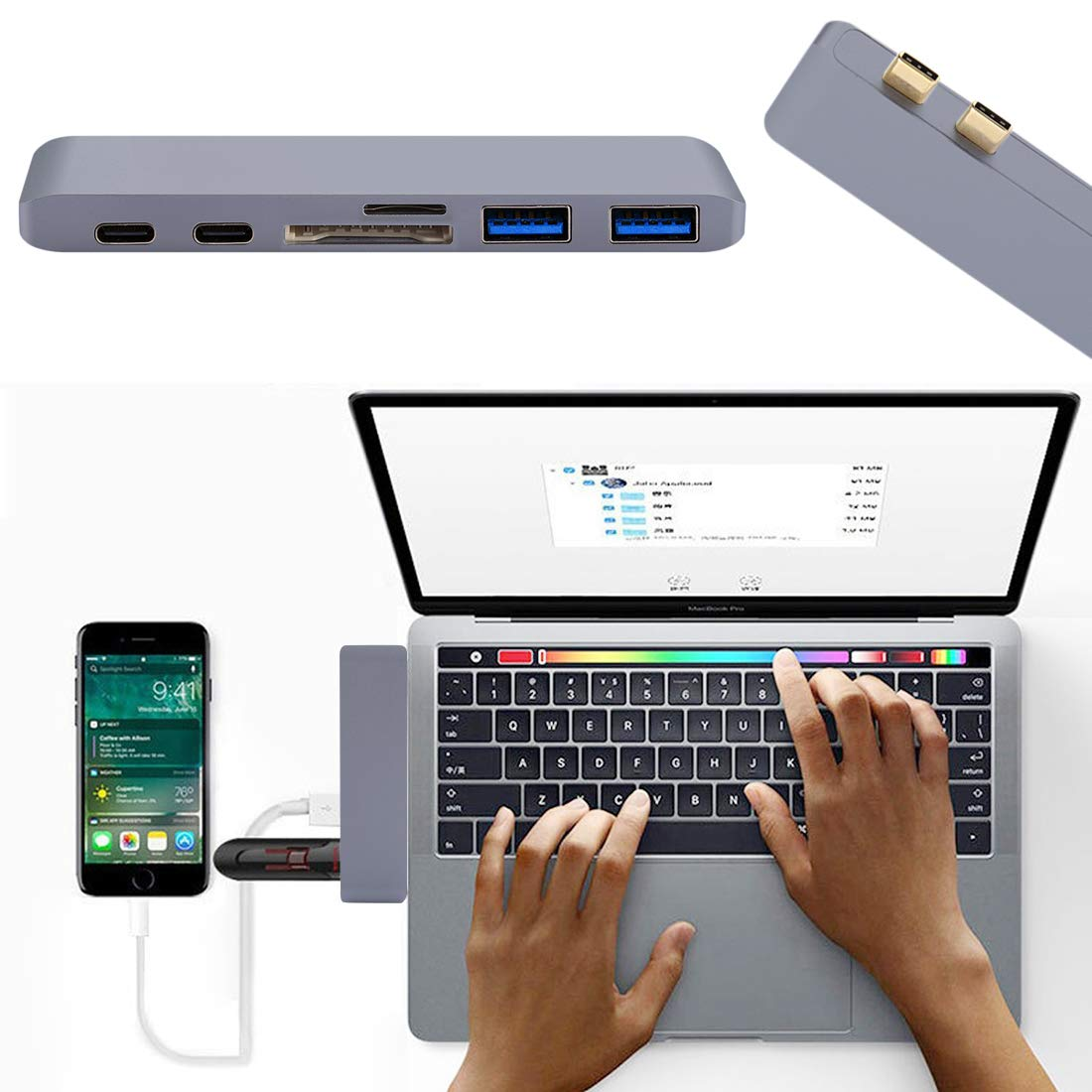 JINYANG USB Hub 6 in 1 Multi-Function Aluminium Alloy 5Gbps Transfer Rate Dual USB-C//Type-C HUB Adapter with 2 USB 3.0 Ports /& 2 USB-C//Type-C Ports /& SD Card Slot /& TF Card Slot for MacBook 2015 //