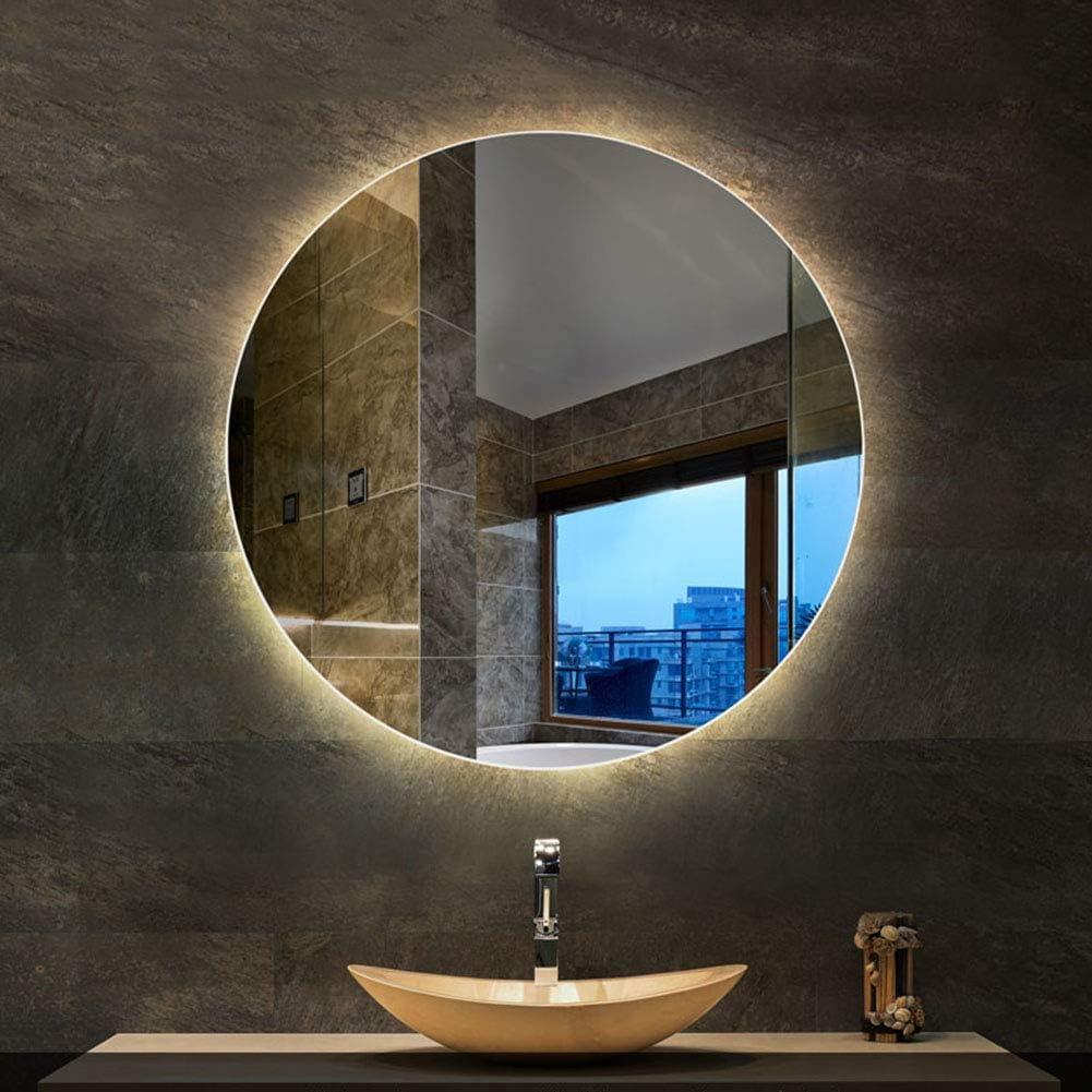 Amazon Com L Ed Mirror Led Round Backlit Bathroom Mirror Illuminated Wall Mount Anti Fog Makeup Mirror Home Kitchen