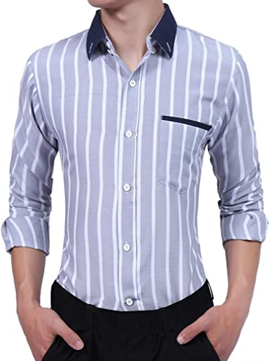 Culater® Camisas Hombre Manga Larga, Rayas Fashion Slim Fit Casual Shirts (XS, Gris): Amazon.es: Ropa y accesorios