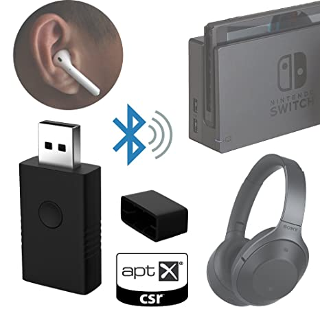 Low latency Bluetooth dongle wireless audio transmitter for Nintendo Switch  PS4 PC Mac CSR aptX LL solution (Black) to connect Airpods Bluetooth