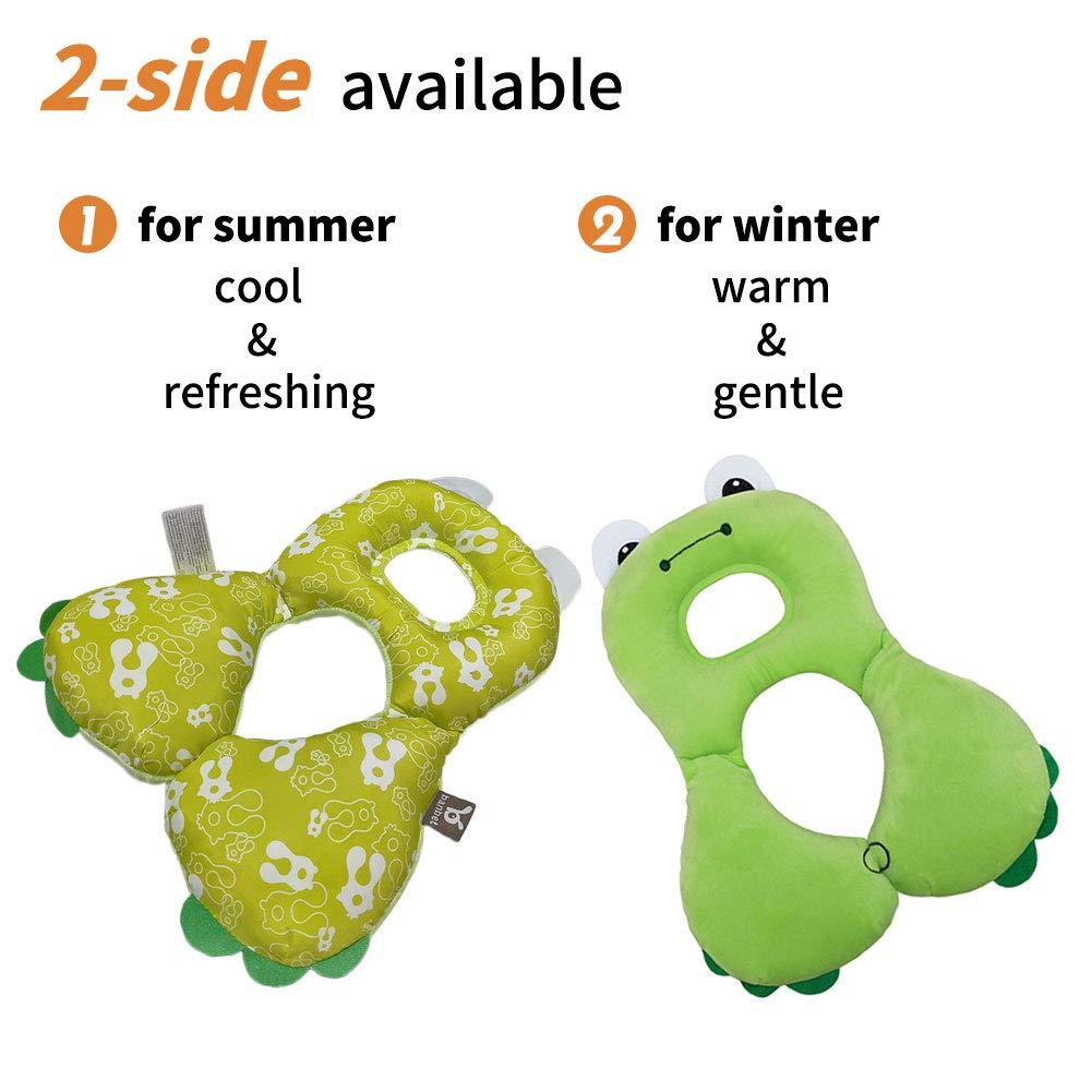 Design ergonomico per alleviare laffaticamento del collo rana verde da 1 a 4 anni Supporto per seggiolino auto per la testa Cuscino da viaggio per neonato collo e mento