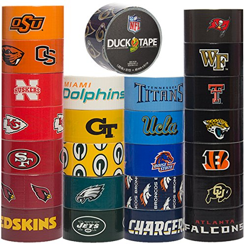 Duck Brand Duct Tape (25 Random Rolls) NFL Sports and College Duct Tape Multi Pack for Duct Tape Craft Designs DIY Duct Tape Bulk Set ()