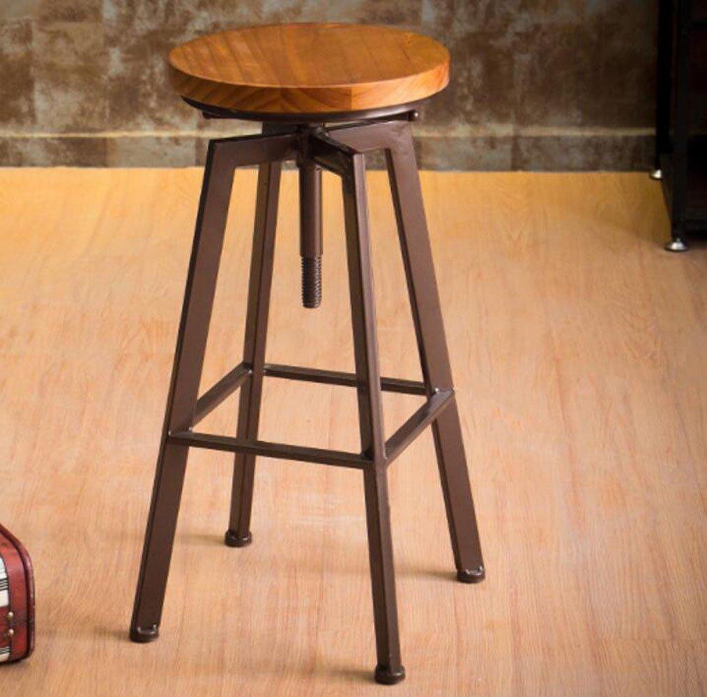 JBHURF Eisen Bar Stuhl Lift Barhocker Dreh Barhocker Startseite Massivholz Hochstuhl (Farbe   C, größe   Durchschnittlicher Code) A Durchschnittlicher Code
