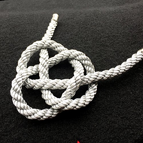 1Pcs Kiku Knot Lucky Charms Chinese Auspicious Knot JP Knot for Car Rearview Mirror Charms Ornaments (Silver Rope)