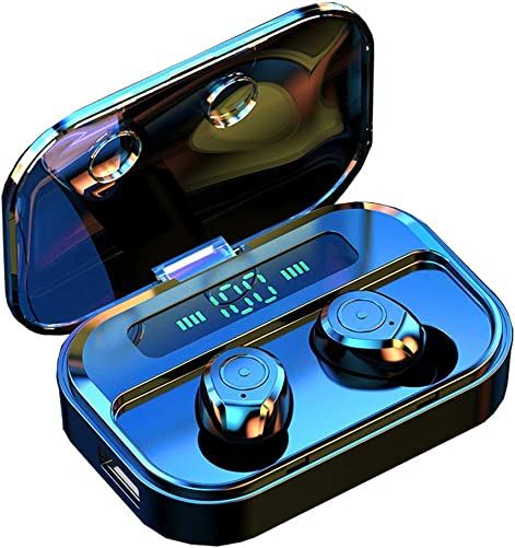 True Wireless Earbuds,Bluetooth 5.0 Headset Stereo Hi-Fi Sound Small Y12-S in-Ear Earphones IPX7 Waterproof Sport Headphones with 2200mA Charging Case LED Battery Dispaly Mic
