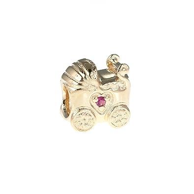Pandora abalorio 750409PSA cochecito bebé oro amarillo y zafiro rosa (Oro amarillo)