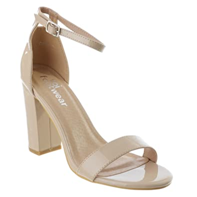 034b01cdf72 LADIES WOMENS BARELY THERE BLOCK HEEL PEEP TOE ANKLE STRAP SANDALS ...