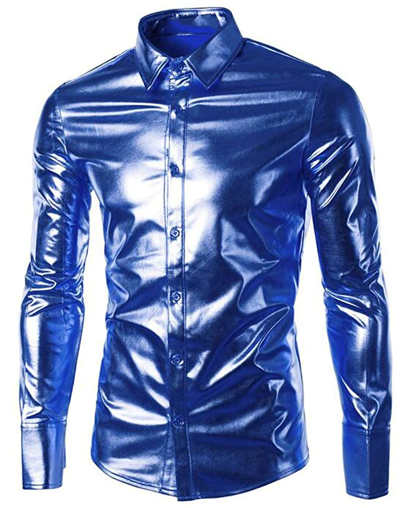 Cromoncent Mens Lapel Neck Metallic Curved Hem Slim Fit Club Button Down Shirts