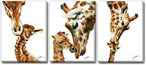 Hongwu Animal Wall Art Giraffe Painting Canvas Prints Modern Artwork Giraffe Pictures for Wall Stretched and Framed Ready to Hang 12x16inch