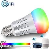 Wifiスマート電球 LED電球 接続Amazon AlexaとGoogle Home、RGBWは色温度を調整するために色を調整します。 E 26,6 W、 (音声制御+調光調色+e26ランプホルダー)