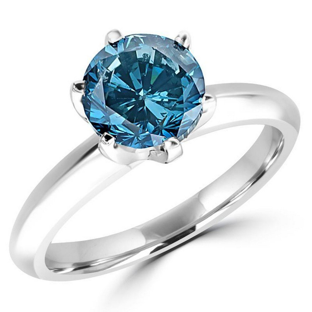 1/2 0.5 Carat 14K White Gold Round Blue Diamond Solitaire Ring (AAA Quality)