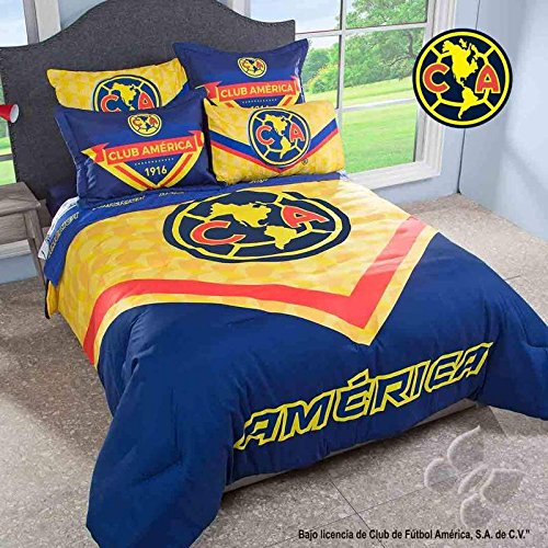NEW BOYS CLUB AMERICA LIGA MX AGUILAS FOOTBALL SOCCER YELLOW COMFORTER FULL by JORGE'S HOME FASHION INC