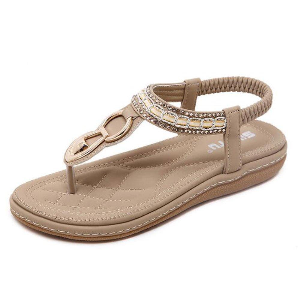 c19c7b3e Amazon.com | Women T-Strap Flip Flop Sandals Summer Thong Flat Sandals  Bohemian Beach Shoes | Flats