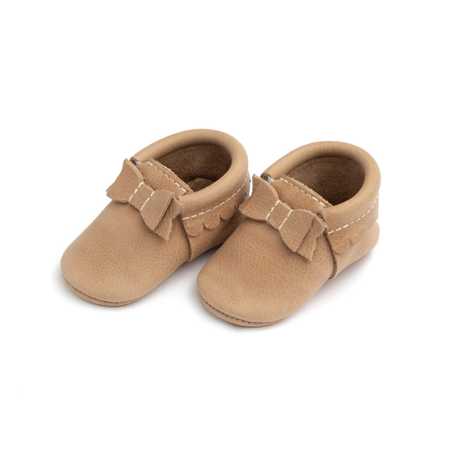 Freshly Picked - Rubber Mini Sole Leather Bow Moccasins - Toddler Girl Shoes - Size 7 Weathered Brown by Freshly Picked