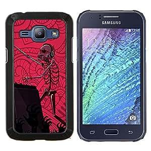 KLONGSHOP // Cubierta de piel con cierre a presión Shell trasero duro de goma Protección Caso - Dj Set Esqueleto Zombie Dance Party Pink - Samsung Galaxy J1 J100 //
