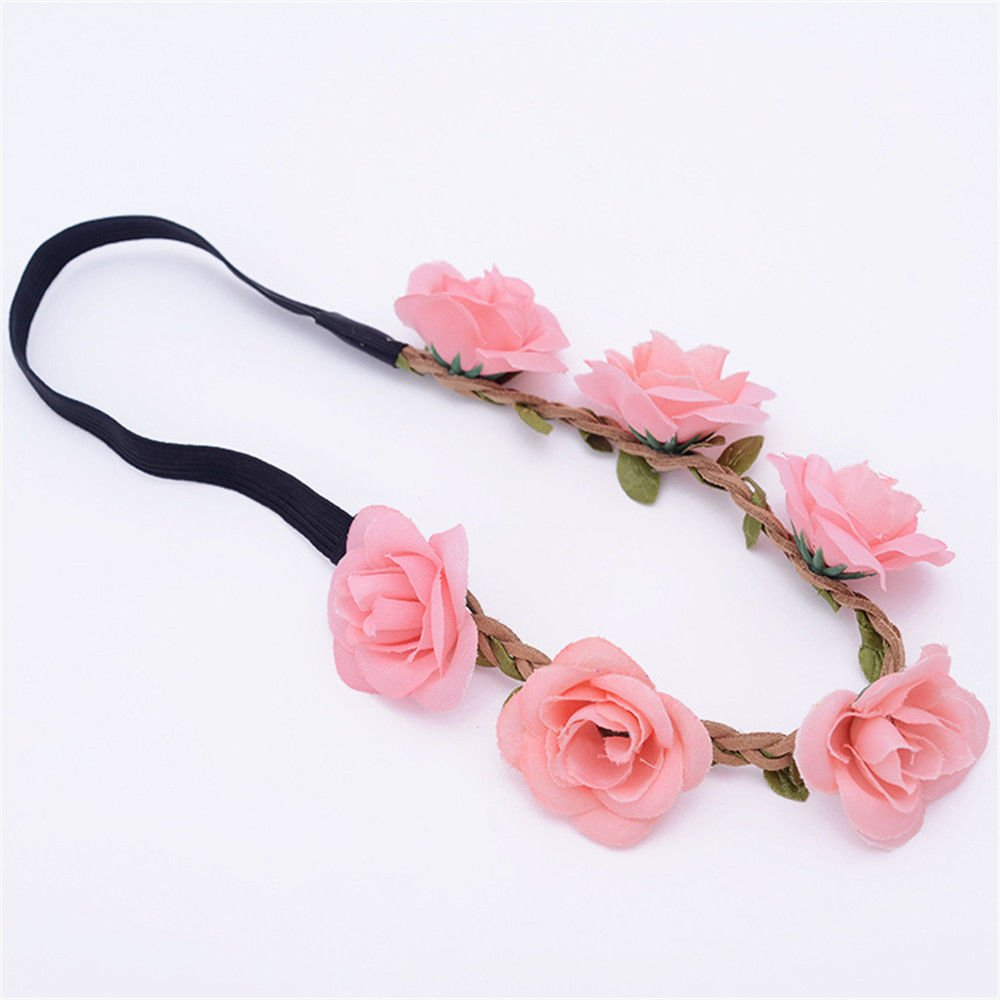 Jhyaccessories Women's sports hair band wash makeup bundle hair band European beauty simulation small rose wreath dice travel photo Headband Headwear Hair accessories