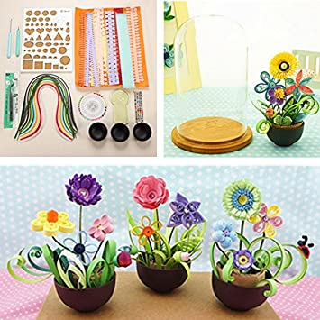 Amazon quilling paper flower pot plant color paper art potted quilling paper flower pot plant color paper art potted craft tool set mightylinksfo