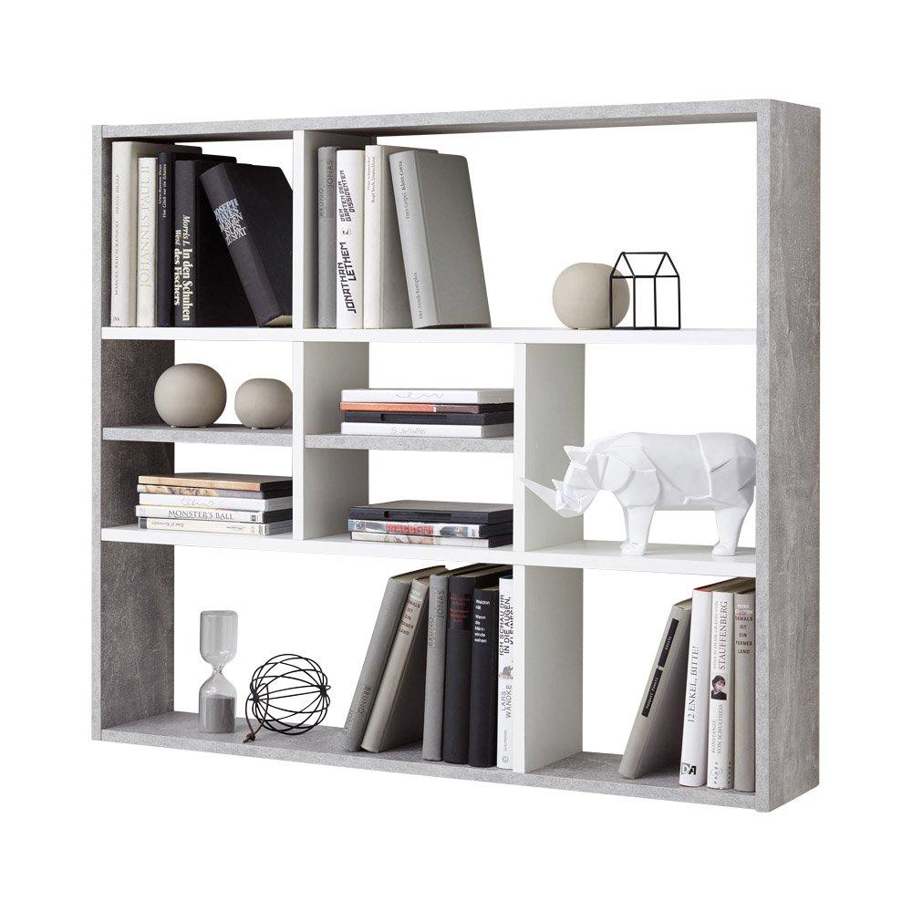 Unbekannt FMD Möbel MIKA Wandregal, Holz, Beton weiß, 90 x 16 x 78.5 cm