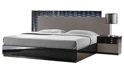 Amazon.com: J&M Furniture Roma Black & Grey Lacquer with Unique Wave ...