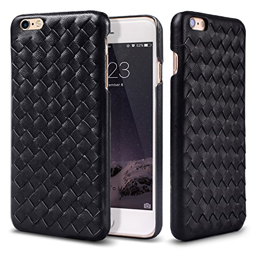 iPhone 6S Plus Case,Buffway [Hand-Made series] Hand-Woven Pattern Grip Back (Detail Lamb Leather)
