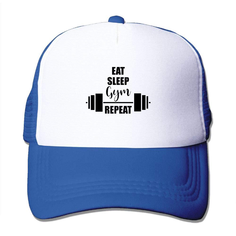 JimHappy Funny Car Sticker Eat Sleep Gym Repeat Baseball Hat CapAdjustable Back Mesh Cap for Men and Women