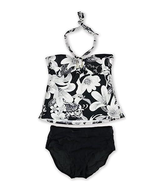 04d397f4689cd Amazon.com  Island Escape Womens Floral Print Brief 2 Piece Bandini Black  14  Clothing