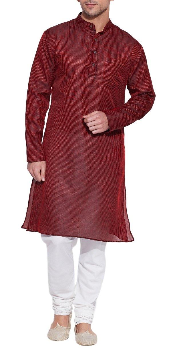 Emerald Maroon Silk Kurta for Men - Men's Indian Fashions - Polyester Dupion