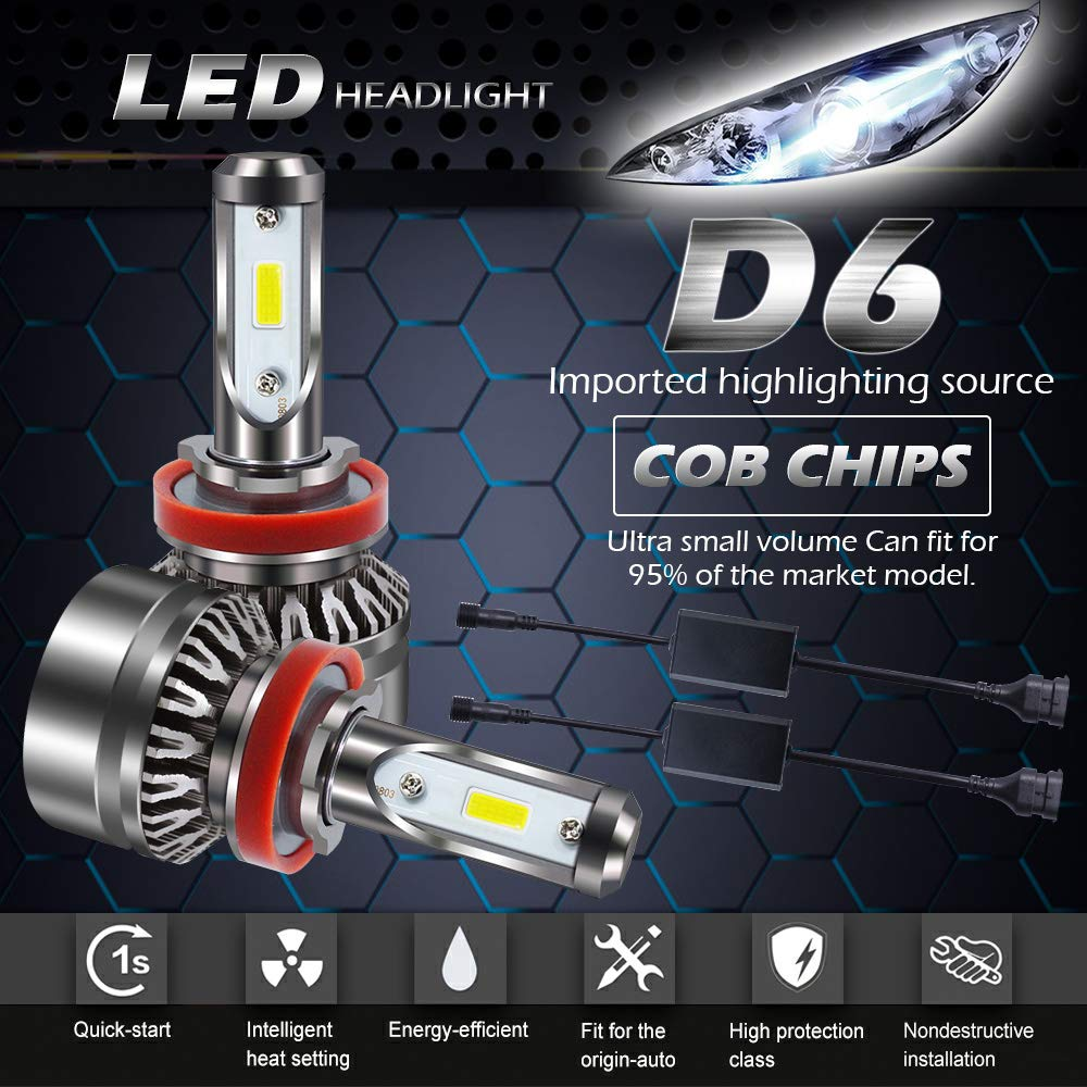 AUSI Extremely Bright 9004 HB1 LED Headlight Bulbs All-in-One Conversion Kit -Waterproof(Hi/Low Beam) - 6000LM 6500K Cool White(Pack of 2)