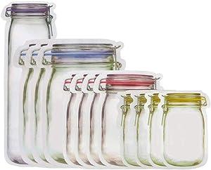Mason Jar Zipper Bags Food Storage Snack Ziplock Bags Reusable Seal Food Storage Bags Leakproof Food Saver Fresh Sealed Bags for Sandwich Tea Candy Cookies (Sx4+Mx4+Lx3+Tallx1)