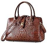 PIFUREN Women Top Handle Handbags Satchel Crocodile Shoulder Bag Tote Purse C69655L(Brown)