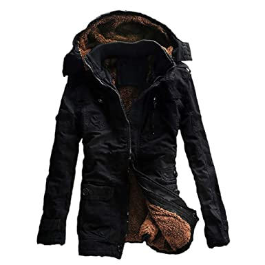 iShine Men s Fall Cotton Winter Casual Military Parka Jackets Thicken  Outwear Warm Coat with Removable Hood c94f5d3a0c3