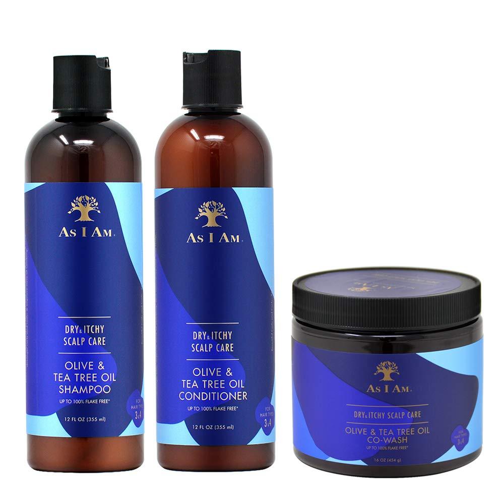 As I Am Dry & Itchy Scalp Care Olive & Tea Tree Oil Shampoo + Conditioner 12oz + CoWash 16oz Set