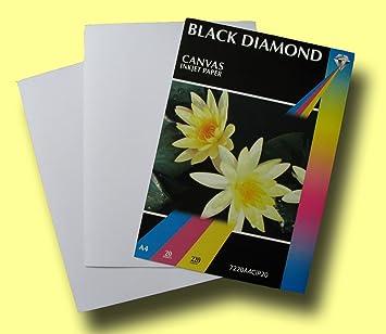 20 sheets black diamond white a4 220gsm light canvas effect inkjet