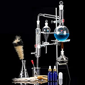 Home Distiller Distilling to Making Your Own Essential Oil, Moonshine, 3.3 Boro Alcohol Distiller Chemistry Lab Glassware Kit,Glass Distilling,Distillation Apparatus 15pcs Set, 500 ML