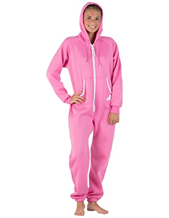 Footed Pajamas Pink Kids Footless Hoodie One Piece - Large