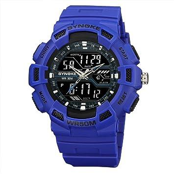 Logobeing Niños Digital Relojes Deportivos - Multi-Función 50M Impermeable Reloj LED Digital Doble Acción Reloj (Azul): Amazon.es: Deportes y aire libre