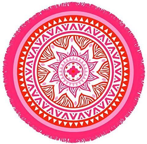 Toalla de Playa Redonda, ángel Mandala, Naranja/Rosa, diámetro 150 ...