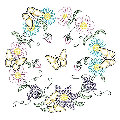 Jack Dempsey Stamped White Quilt Blocks, 18-Inch by 18-Inch, Butterfly Wreath, 6-Pack ()