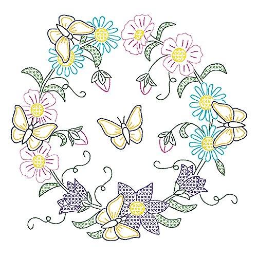 Wreath Quilt Block (Jack Dempsey Stamped White Quilt Blocks, 18-Inch by 18-Inch, Butterfly Wreath, 6-Pack)