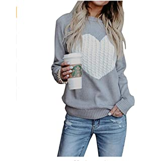 de00d3ae862c P A Fashion Women s Pullover Sweaters Long Sleeve Crewneck Cute Heart  Knitted Sweaters Tops Blouse S-