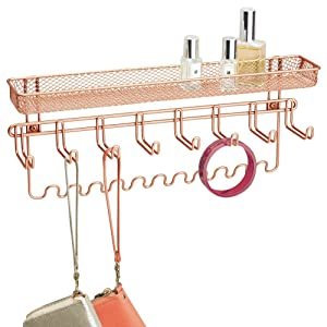 mDesign Decorative Metal Closet Wall Mount Jewelry Accessory Organizer for Storage of Necklaces, Bracelets, Rings, Earrings, Sunglasses, Wallets - 8 Large /11 Small Hooks, 1 Basket - Rose Gold
