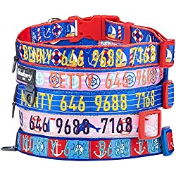 Blueberry Pet 8 Patterns Personalized Dog Collar, Nautical Ocean Harbor, Small, Adjustable Customized ID Collars for Small Dogs Embroidered with Pet Name & Phone Number