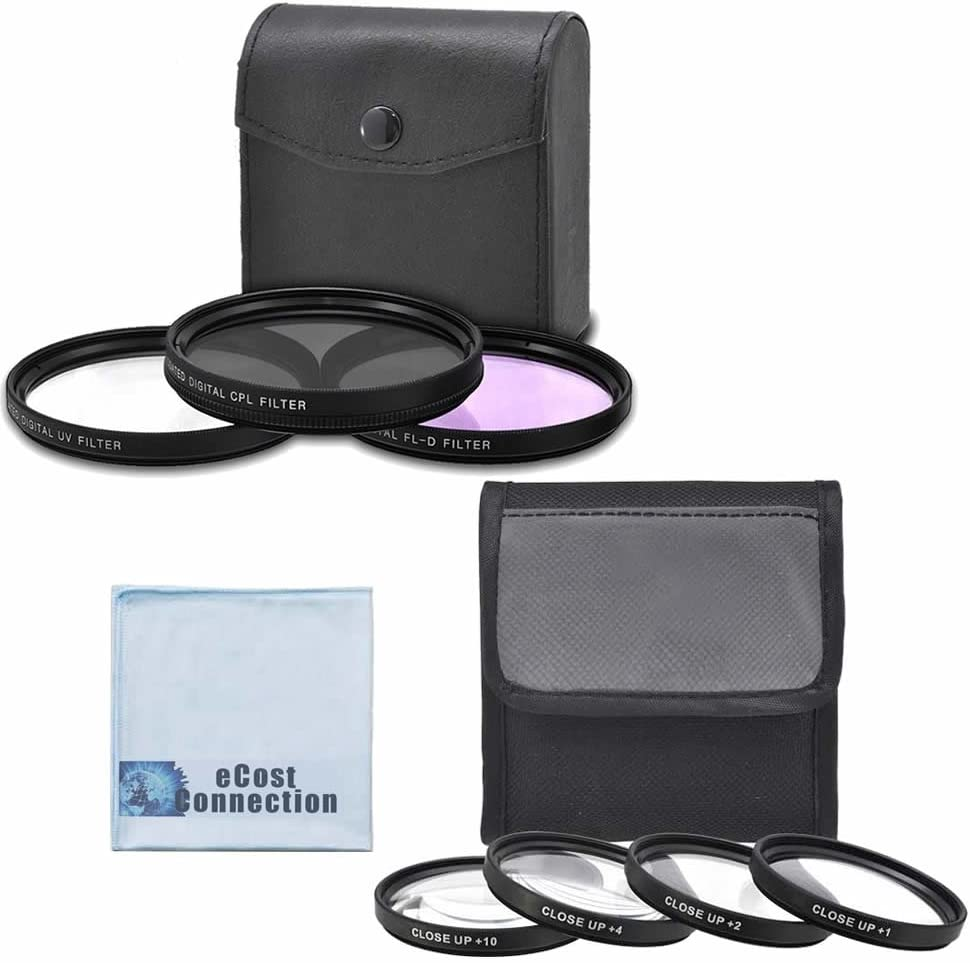 eCost Microfiber Cleaning Cloth 62mm High resolution Pro series Multi Coated HD 3 Pc 62mm Pro Series 4pc HD Macro Close Up Filter Set +1 +2 +4 +10 for Olympus 18-180mm f//3.5-6.3 ED Zuiko Digital Zoom Lens and More Models Digital Filter Set