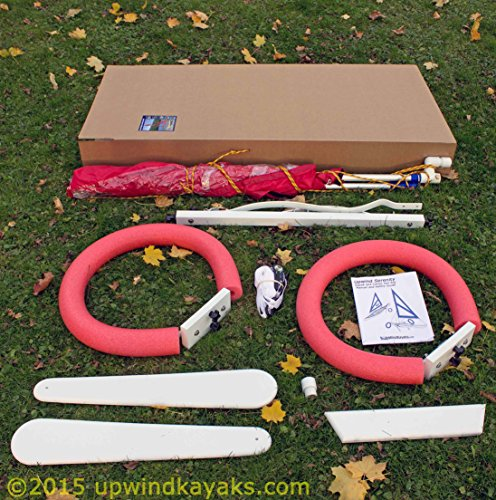 Serenity Upwind Kayak Sail and Canoe Sail Kit (Red). Complete with Telescoping Mast, Boom, Outriggers, Lee Boards, All Rigging Included! Compact, Portable, Easy to Set up - Makes a great gift ! by Sailskating (Image #8)