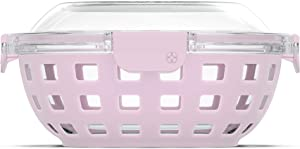 Ello DuraGlass Food Storage Glass Lunch Bowl Container - Meal Prep Container with Silicone Sleeve and Airtight Lid, 5 Cup, Cashmere Pink