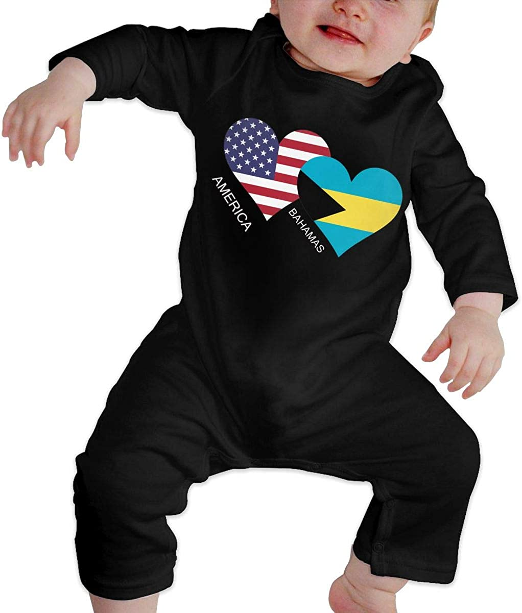 America Bahamas Flag Heart Organic One-Piece Bodysuits Coverall Outfits BKNGDG8Q Unisex Baby Romper Jumpsuit